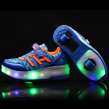 NEW Fashion Children Shoes Kids Sneakers Male & Female Child Sports Casual LED Shoes PU Leather Lace Up Boy & Girls(China)