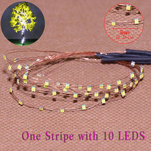 evemodel  DD85W0810 5 Strips 10-LED  Pre-soldered micro Copper Wired WHITE SMD LED 0805 model train 1/35 railway modeling