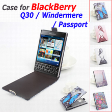 100% High Quality Leather Case For BlackBerry Q30 Q 30 / Windermere / Passport  Flip Cover Case Mobile Phone Cases