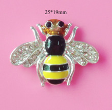 BTN-5459 Free shipping 10PCS/Lot 25*19mm flatback bee crystal rhinestone button for DIY craft scrapbook