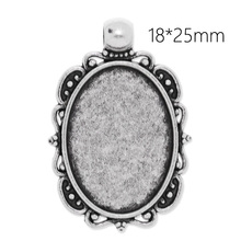 20 pcs 36*24 mm Antique Silver Plated Blank Pendant Trays, Matching Glass Cabochons for custom Photo Jewelry Making-C3873