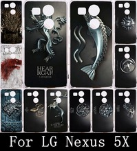 GameThrones Families Flag Phone Case For LG Nexus 5X Case Cover For Nexus 5 X Phone Cases Soft TPU Painting Back Shell Housing