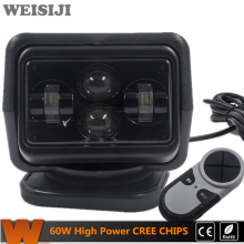 WEISIJI 1Pcs 60W Wireless Led Marine Search Light with Cree Chips LED Search Light Remote Control Spot Light Car LED Work Lights