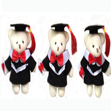 6 pcs/lot, 13cm Super Cute graduation bear with keychain Plush Toys, stuffed toys, soft graduation bear