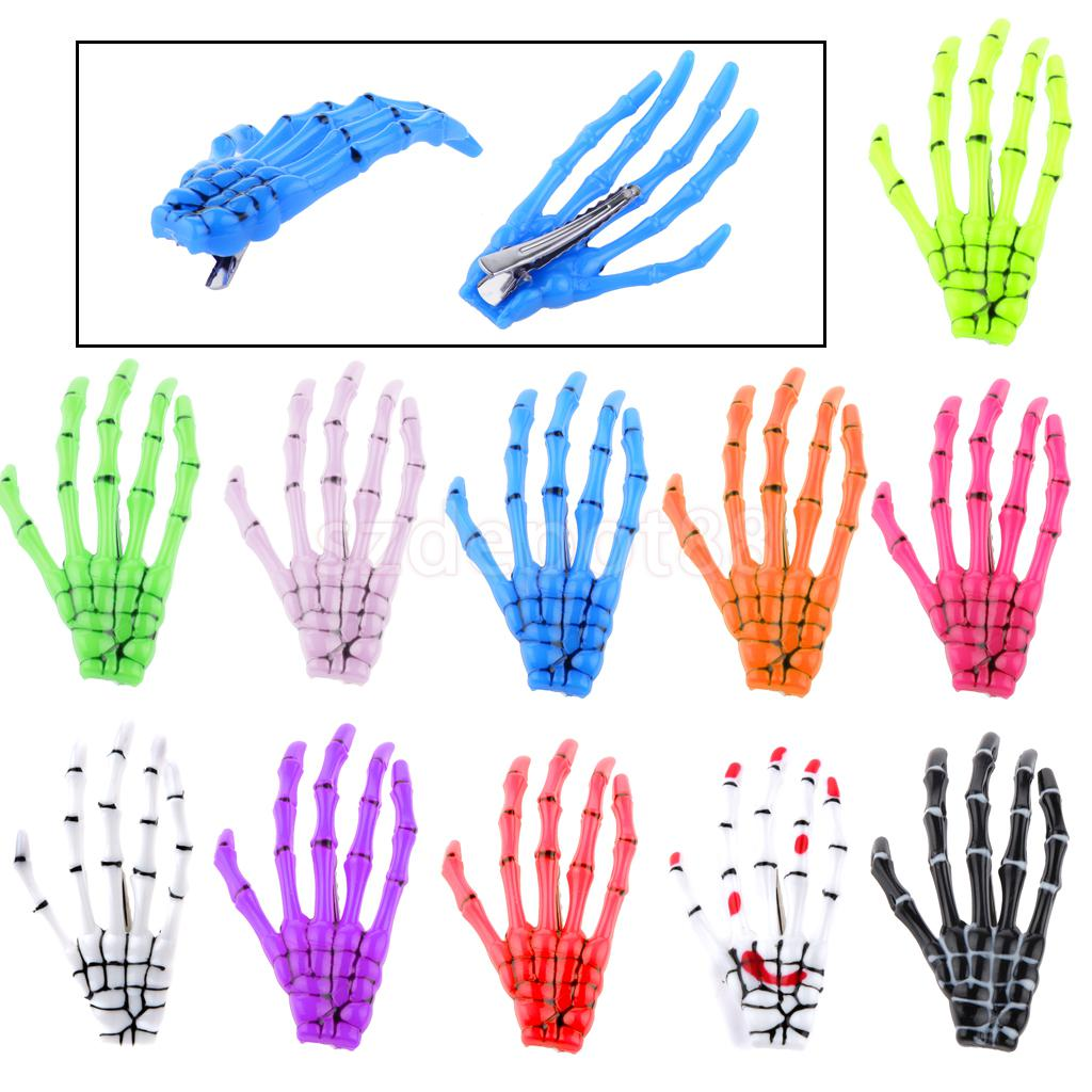 Fashion Girl Celebrity Halloween Party Women Zombie Skull Skeleton Hand Bone Claw Punk Hairpins Hair Clips Gifts(China)