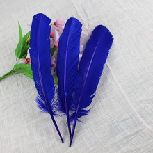 10pcs wholesale 25-30cm royal blue color real natural turkey feathers plumes hair extensions goose feather for sale(China)
