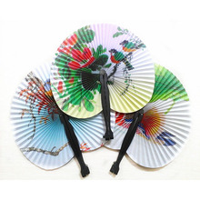 New Pretty Classic Folded Small Round Paper Fans Kids Childrens Kids Paper Toy(China)