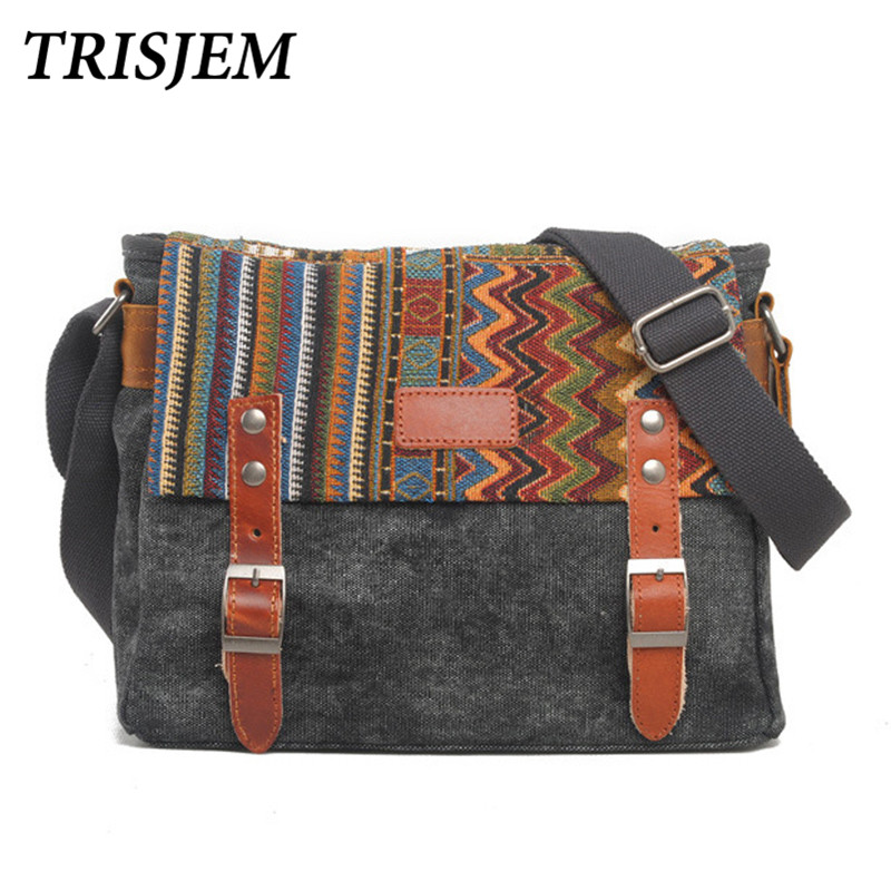 Vintage Ethnic Canvas Messenger Bag Women Chinese Style Shoulder Bag Female Casual National Bag Mujer Embroidery Crossbody Bag<br>