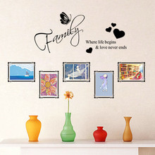 Family Where life begin Butterfly Heart Photo Frame Wall Stickers Mural Living Room Bedroom Home Decoration Room Decals Poster