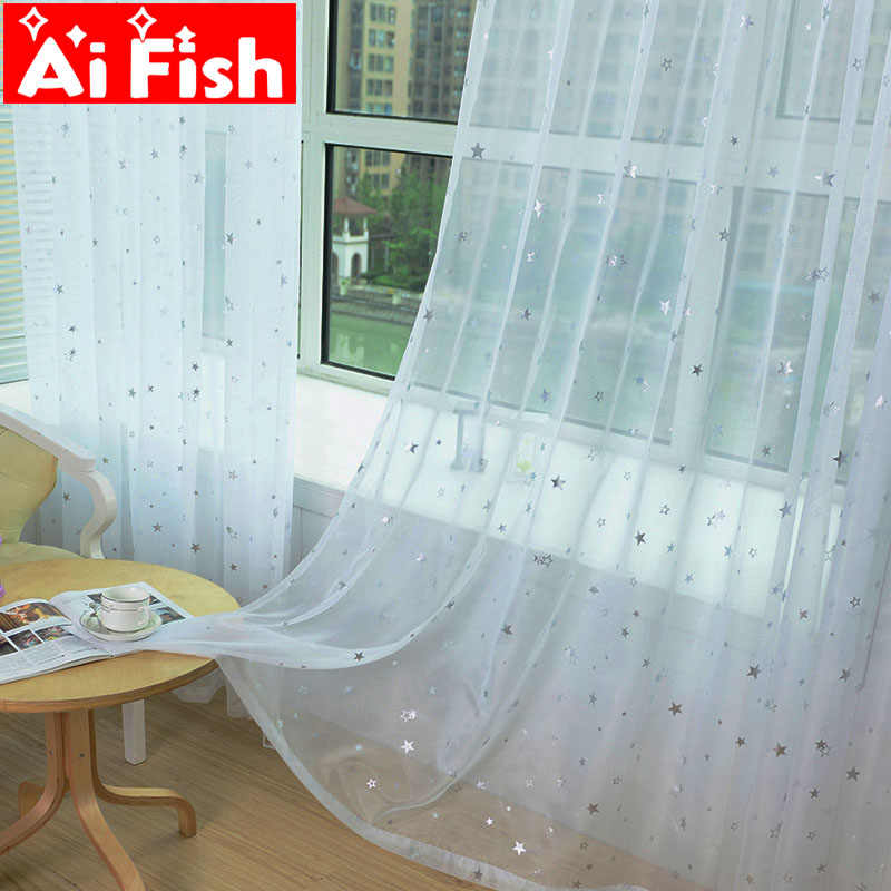 Korean White Bronzing Stars Tulle Window Treatments Sheer Kitchen Panels Balconies Floating Curtain For Living Room AP234-40