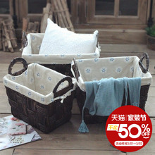 Chengyi Vintage American country rattan basket weaving straw storage debris clothing decoration finishing box