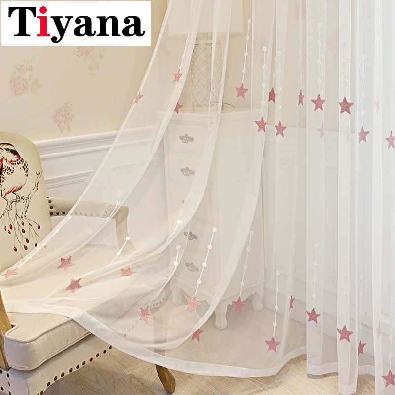 Summer Pink Embroidered Star Sheer Curtains For Kid Boys Room Window Drapes For Party Decor Kitchen Home Bedroom P309X