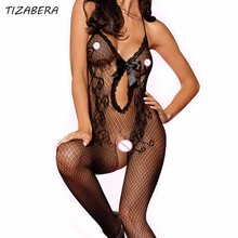 Sexy Lingerie Underwear Plus Size Bodystocking Erotic Body Sleepwear Bow Lace Stockings Open Crotch Mesh Sexy Costumes WY003(China)