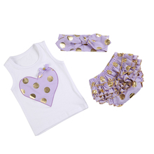 (DEWDROP) Gold heart cute newborn baby cotton ruffle romper clothing kids summer style bubble rompers set free shipping