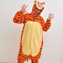 2017 New Fashion Women's Tiger Pattern Cosplay Costumes Full Sleeve Microfiber Sleep Lounge Onesies Adult Footed Pajamas(China)