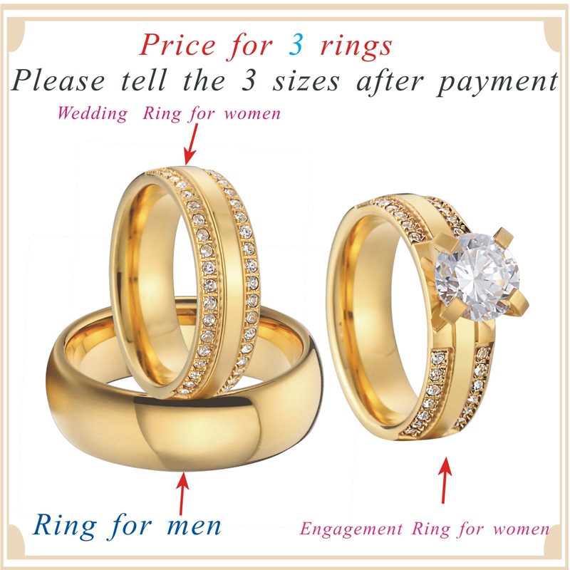 China wholesaler beautiful custom gold color 3 pieces titanium steel couples wedding band engagement rings sets anel (5)