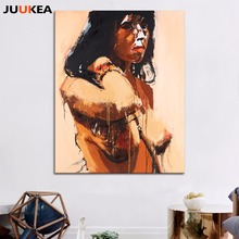 Asian Sexy Naked Girl Full Open Canvas Art Printing Painting Splash-ink Vintage Poster Wall Picture For Living Room, Home Decor