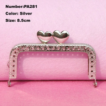 PA281 Purse Frame Hanger Embossing Square Heart Love 8.5cm Silver Metal Clasps Purses Accessories Handles Handbags Diy Bag Parts