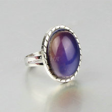 woman charm gem change color ways ring temperature change color adjustable mood ring 10pcs(China)