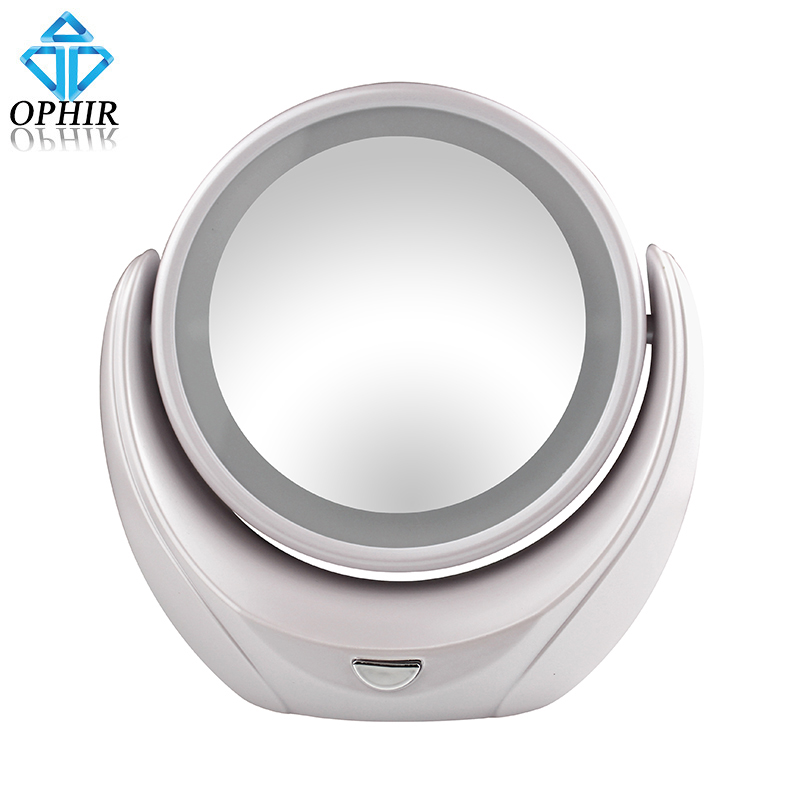OPHIR USB Rechargeable Super Thin Pro Makeup Cosmetic Mirror 2 Sides 5 Times Magnifier 360 Rotary with LED Ring Light_ KD178W<br><br>Aliexpress