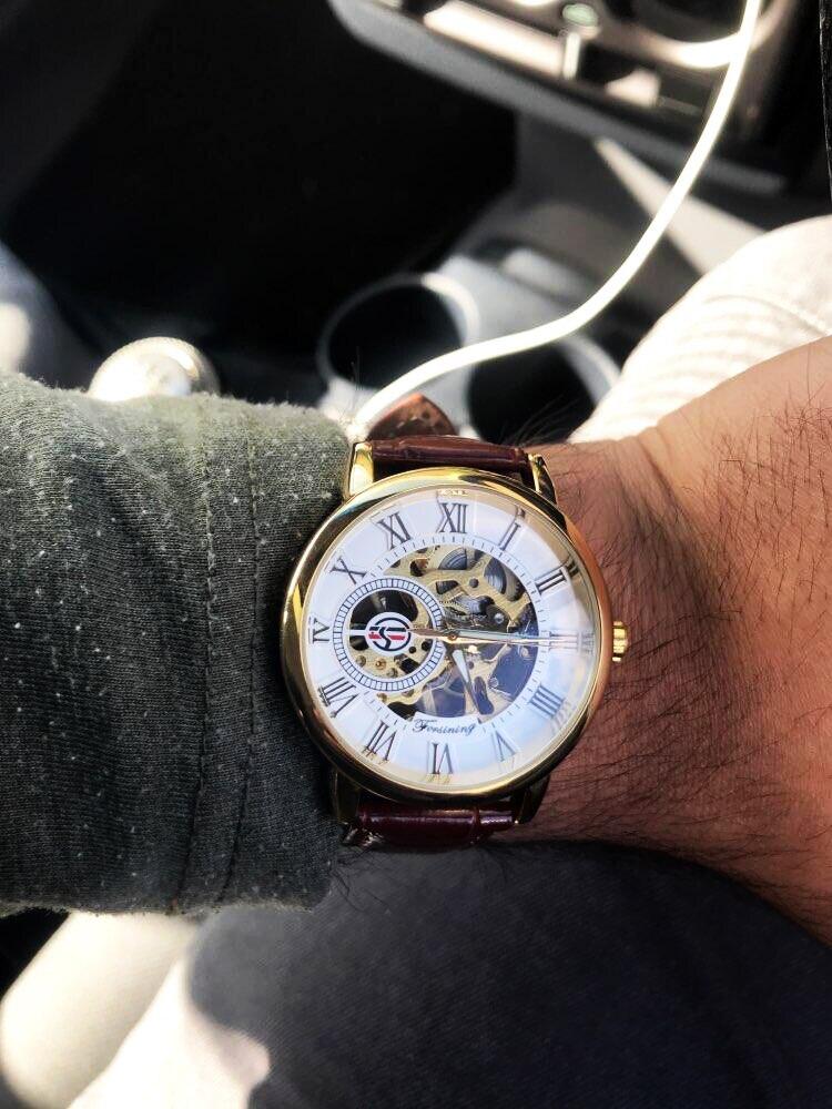 Forsining 3d Logo Design Hollow Engraving Black Gold Case Leather Skeleton Mechanical Watches Men Luxury Brand Heren Horloge 22