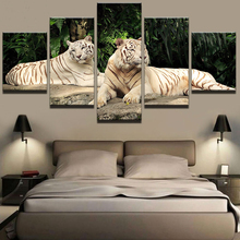 Modern Canvas Painting on The Wall Art Modular Pictures for Living Room Home Decor 5 Panel Animal Tigers Oil Painting on Canvas