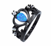 2017 Summer Edition Crown Fire Opal Ring with Black Rhodium Plating Free Epacket Dropshipping(China)