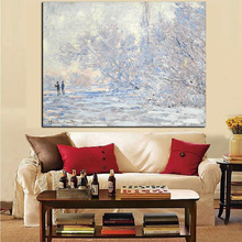 Print White Modern Claude Monet Impressionist Snow Landscape Oil Painting on Canvas Pop Art Wall Picture Poster for Living Room(China)