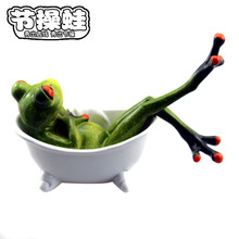 2016 new resin frog sitting in bathtub novelty Arts & crafts fashion shopping resin gifts home life(China)