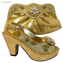 2017 Shinning Gold Sandals And Slippers Handbag Wedges Italian Shoes With Matching Bags Women Set