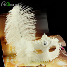 Ball Dance Party Half Face Mask Woman Masks With Ostrich Feathers Halloween Masquerade White Luxury Venice Mask Evening Cosplay(China)