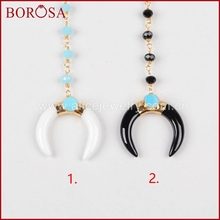 "BOROSA 16"" Gold Color White Crystal Crescent Double Horn Necklace Paved Greenish Sky Blue Stone With 8"" Blue Beads Chain G0956-1"