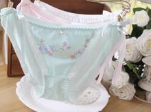 100% Real Photos side tie close Cute Lolita Kawaii Princess Cotton Butterfly Embroidery Panties Calcinha Underwear Brief WP255(China)