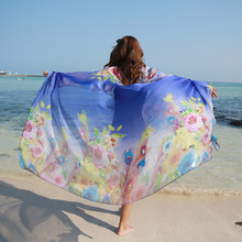 196*146cm 2017 Summer Print Silk Scarf Oversized Chiffon Scarf Women Pareo Beach Cover Up Wrap Sarong Sunscreen Long Cape Female