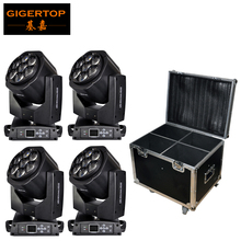 TIPTOP Stackable 4in1 Flightcase Packing 7x15W Osram RGBW Led Mini Moving Head B Eye Light DMX27/55 Channels Zoom Function CE