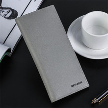 Discount Simple Design Male Card Holders High Quality PU Leather Multi-function Men Purse Vertical Type Solid Men's Long Wallets