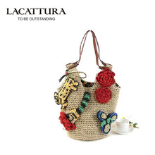 LACATTURA Colorful Summer Style Handbags Bohemian Boho Indian Straw Bag Famous Designer Brands High Quality Woven Beach Bag