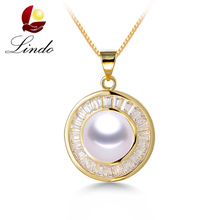 Real Big Natural Pearl Pendants For Women Fashionable Top Quality Gold Color Necklace Elegant Shiny Zircon Jewelry New Arrival(China)