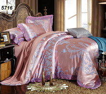 Pink gray modal silk bed linens jacquard flowers luxury bedding set lace comforter cover pillow cases bed sheet 4pcs set 5716(China)