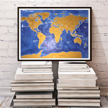 Travel World Map deluxe poster Retro HD Bar/Pub/cafe Picture Wall art crafts sticker wallpaper painting English maps 82x59cm(China)