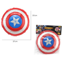 27cm PVC Captain America Figure Toys The Avengers Captain America Shield Light-Emitting & Sound Cosplay Model Toy With Opp Bag