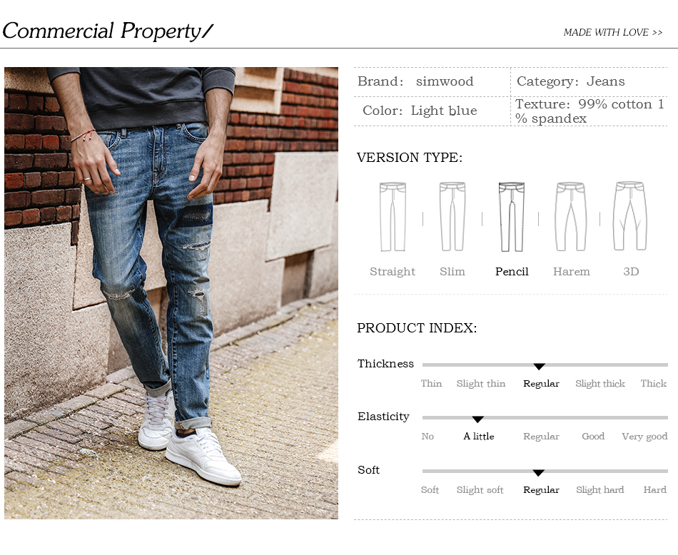 SIMWOOD 17 Autumn New Jeans Men Hole Ripped Slim Fit Denim Trousers Biker Jeans Skinny Brand Clothing High Quality NC017031 1
