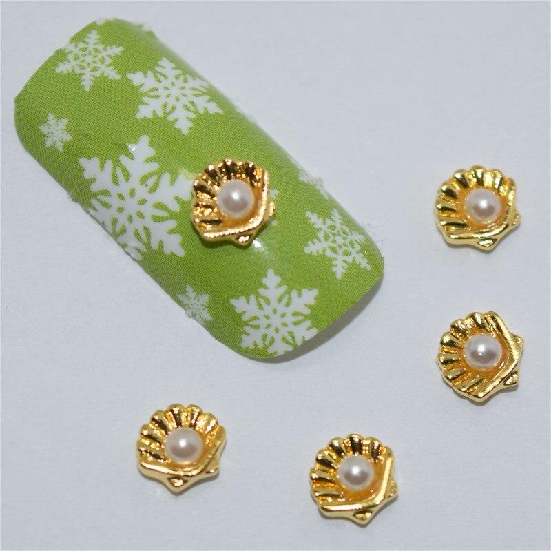 10psc New White pearl shell 3D Nail Art Decorations,Alloy Nail Charms,Nails Rhinestones  Nail Supplies #456<br><br>Aliexpress