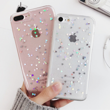 Luxury Bling Glitter Body Case for iPhone 7 Case For iPhone 7 6 6S Plus Phone Back Cover Love Heart Soft Silicone Phone Cases