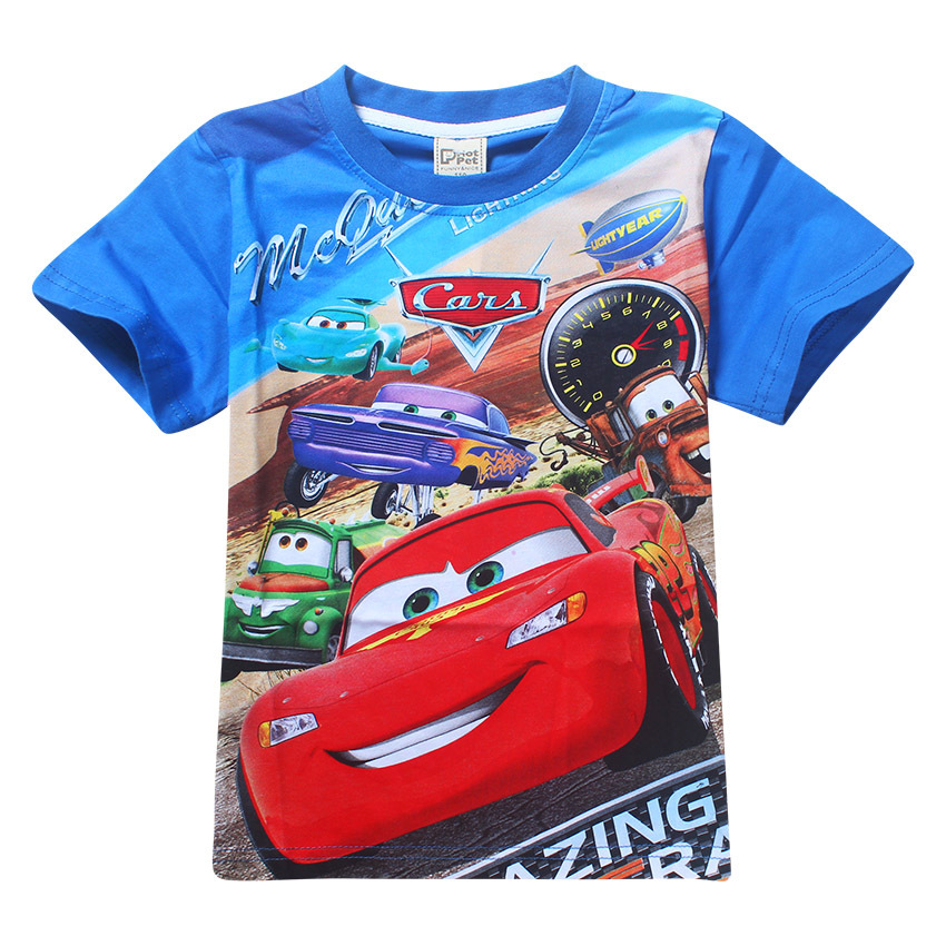 2017 New Summer Boys T-shirt Cotton O-neck Short Sleeve Cartoon Car Kids T shirts For Boy Girls Top Tee Children Clothing 2ht018(China (Mainland))
