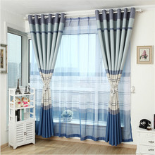 byetee Eastern Mediterranean striped curtain shade blue custom curtains livingroom curtain bedroom curtains grade