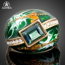AZORA Gold Color Green Rectangle Stellux Austrian Crystal Oil Painting Pattern Ring TR0024