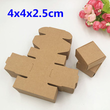 50pcs 4x4x2.5cm Kraft Craft Paper Pack Boxes Small Gift Box For Biscuits Handmade Soap Wedding Party Candy Packing gift Boxes(China)
