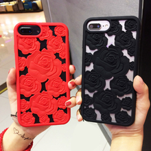 Newest 3D Hollow Rose soft silicone Cell Phone Case For Apple iphone 8 8plus 6 6s plus 7 7plus Luxury gel flower Fitted Case(China)