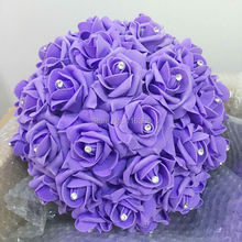 11'' 28cm 12pcs/lot  With Diamond Purple Foam Kissing Rose Flower Half Ball Wedding Decoration Table Centerpiece Free Shipping